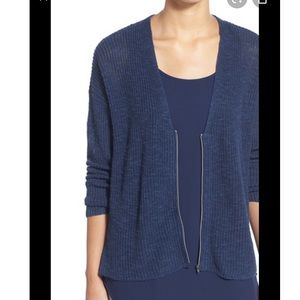 Eileen Fisher Sz Md Boxy Fit Blue Zip Cardigan